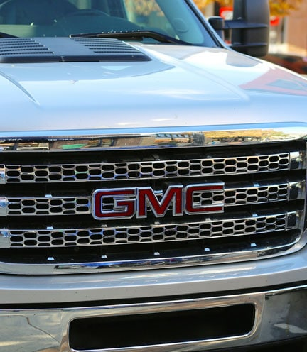 front of a gmc truck